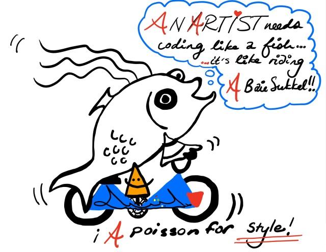 Schooling a Fish is like Riding a Bike cartoon